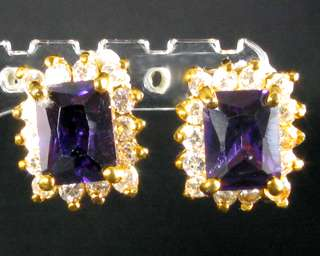 WEDDING Xmas Fashion Jewelry Princess Cut Purple Amethyst Yellow Gold