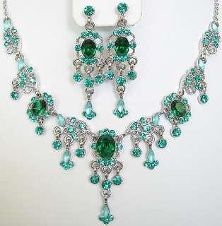 n305 Emerald Green Swarovski Crystal Victorian Style Necklace Earrings