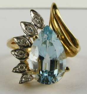 Sparkling 3ct Pear Cut Natural Aquamarine & Diamond 14k Yellow Gold