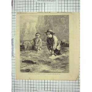 : 1866 YOUNG BOYS MODEL BOAT SEA CLIFFS ANTIQUE PRINT: Home & Kitchen