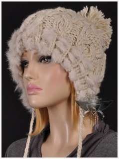 Rabbit Fur Rock Style Ladys Beanie Hat Cap Soft Polite New