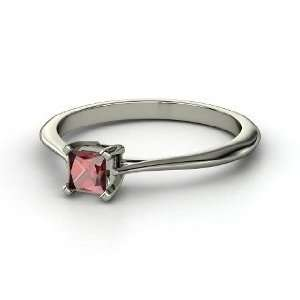 Princess Solitaire, Princess Red Garnet Sterling Silver Ring Jewelry