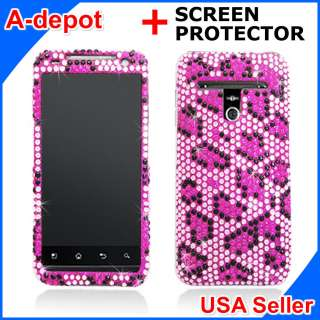LG Esteem MS910 Metro PCS Pink Leopard Bling Diamond Hard Case Cover