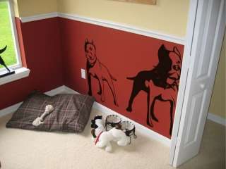 Vinyl Wall Decal Sticker Gangsta PitBull Dog Duo
