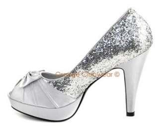 PINUP Womens Silver Glitter Satin High Heels Evening Party Peep Toe