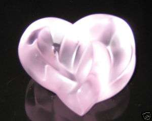 Lalique Crystal Heart Paperweight Pink Brand New