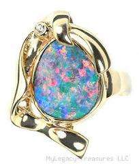Black Opal + Diamond 14K gold ring red pink green birthstone