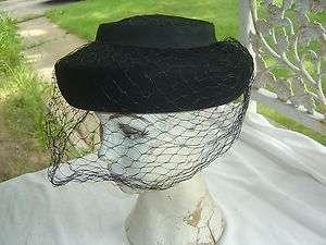 vtg BLACK WOOL PILLBOX 50s w/ NETTING HAT retro