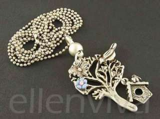 Tree of Life Butterfly Bird Flower Tree House Necklace Vintage Silver