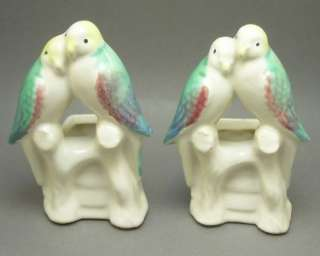 Pair Vintage Morton Art Pottery Love Birds Vase Planter