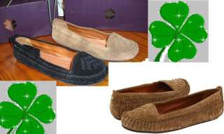 LUCKY BRAND Farley otter/black oiled suede flats shoes