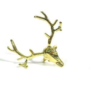 : Deer Skull Ring Adjustable Gold Taxidermy Elk Antler Reindeer Head