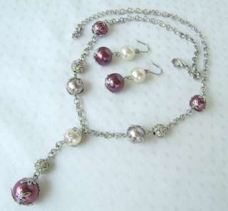 FASHION ART jewelry WHITE CRYSTAL n POLKI NECKLACE SET