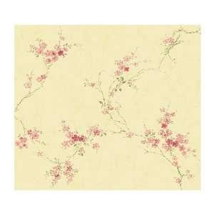Vine Wallpaper, Butter Cream/Rose Pink/Spring Green