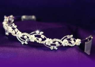 Bridal Wedding Flower Rhinestone Faux Pearl Tiara T1045