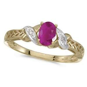Ruby and Diamond Antique Style Ring in 14K Yellow Gold (0