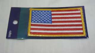 USA American Flag Iron On Patch Red White Blue Gold Border Police