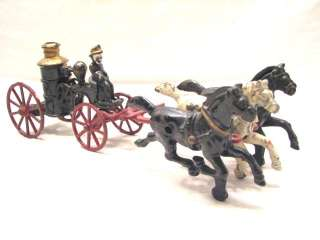 CAST IRON 3 HORSE DRAWN FIRE HOSE PUMPER TRUCK TOY