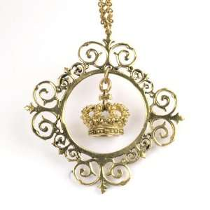 Necklace vintage brass gold royal crown chain link long by