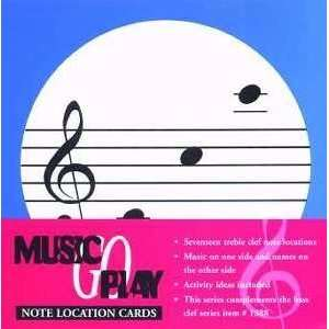 Set of 17 Treble Clef Note Location Flash Cards Musical Instruments