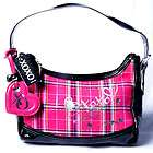 Heart Silver Tone Logo XOXO Preppy Girl Black Pink Plaid New Bag