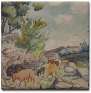 Diego Rivera Mexican Art Ceramic Tile Oxen Watercolor