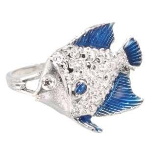 14K White Gold Angelfish Ring 1/5 Carat Diamonds Blue