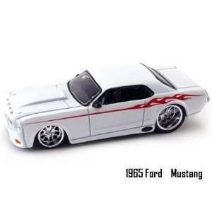 Jada Dub City Big Time Muscle White 1965 Ford Mustang with Flames 1:64