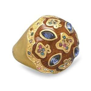 14 Karat Gold Plated Multicolor Crystal Fashion Ring