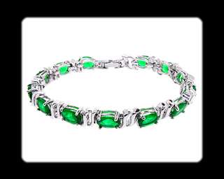 Gift Green Emerald White Gold GP Tennis Bracelet Hand Chain