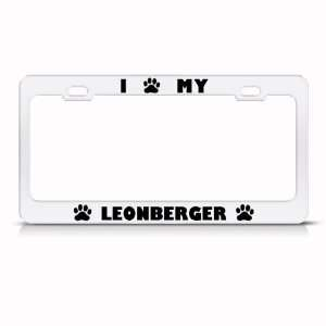 Leonberger Dog White Animal Metal license plate frame Tag Holder