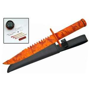 Survival Knife Orange Camo Hunting Knives: Sports
