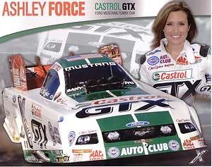 ASHLEY FORCE FORD MUSTANG FUNNY CAR CASTROL/GTX POSTCARD!