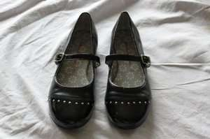 YOUTH GIRL 35 3 BLACK LEATHER BALLET MARY JANE FLATS SHOES O21