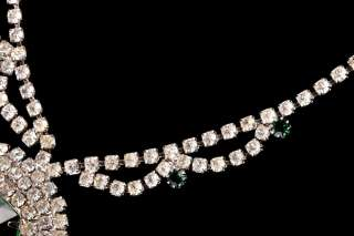 Vintage Art Deco Rhinestone Emerald Pendant Necklace