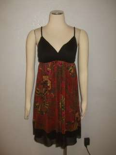 $197 MSRP Black Red Floral Flattering Cocktail Dress Sz 4