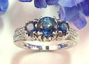 GENERATIONS 1912  2 cttw.GENUINE 3 SAPPHIRE & DIAMOND RING 14kt WHITE