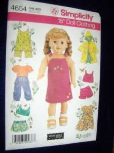18 Doll American Girl Summer Clothes New Simplicity 4654 Pattern