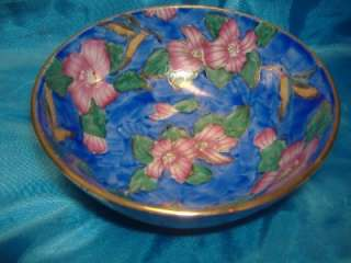 DECORATIVE BOWL PINK FLOWER Floral on Blue Purple w/Gold NICE GIFT