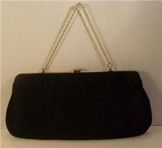 Vintage Black Evening Bag Purse Clutch Style Gold Tone Chain