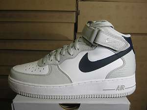 NIKE MENS AIR FORCE 1 MID 07 NEW GREY OBSIDIAN WHITE