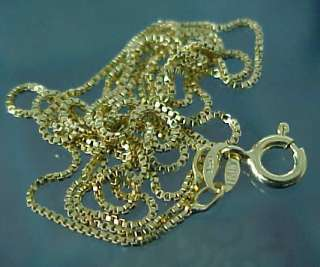 24 inches long ITALIAN 14kt Yellow Gold over Sterling Silver BOX CHAIN