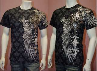 New Black MENS T Shirt Gothic Design with Wings & Siver Glitter Black