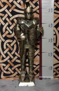 Foot Gold Suit of Armor Medieval Knight in Short Sword & Shield