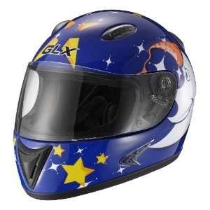 GLX Helmets Blue Star Moon Large Youth Full Face Motorcycle Helmet