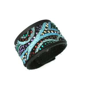 Green Crystal & Black Leather Bracelet CMR by Caroline Rocha Jewelry