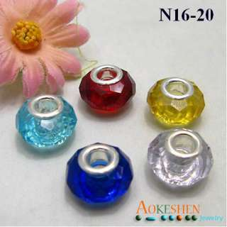 European Charm Crystal Glass Beads Fit Bracelet N16 20