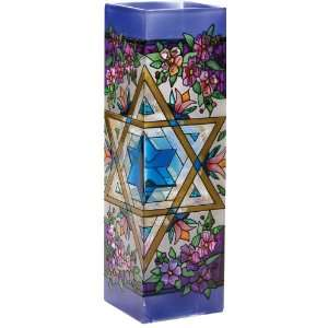 Shalom   Star of David   Hand Painted Stained Glass Vase 3