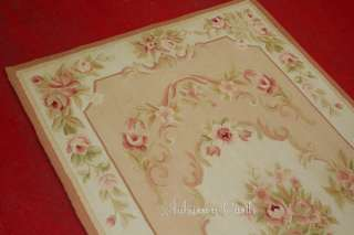 Pre order FRENCH AUBUSSON AREA RUG Light Pink Ivory Cream WOOL WOVEN