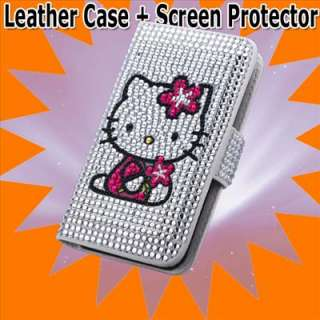Hello kitty case crystal and leather cover skin protect for iphone 4S